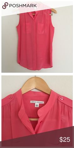 Banana republic silk blouse Banana republic 100% silk coral button down blouse. Slightly sheer so can be worn with a camisole or without and a nude/flesh colored bra. Great Spring top to wear to work or to dress up a nice skirt or jeans!  Only worn once. In excellent condition. Size 4 but fits loosely. Banana Republic Tops Button Down Shirts