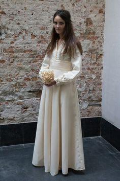Creme witte jaren 70 bruidsjurk