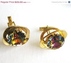 ON SALE Vintage Cuff Links with spectacular by popgoesmyvintage