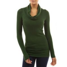 Stylish Cowl Neck Solid Color Long Sleeve T-Shirt For Women | TwinkleDeals.com