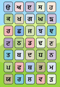 Punjabi alphabet writing worksheet