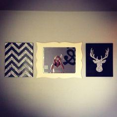 Diy wall decor black chevron silver glitter deer head mp white mirror bedroom