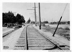 Pacific Electric Railway tracks at Burnett Ave. in Mission Acres (later, North Hills), looking west, circa 1926. Automobile Club of Southern California. San Fernando Valley History Digital Library.