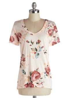 Florist's Apprentice Tee - Jersey, Knit, Pink, Floral, Casual, Short Sleeves, Spring, Pink, Short Sleeve, Summer, Good, Mid-length