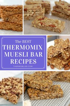 Whether it's for a quick and easy breakfast on the go, a lunchbox treat, or an afternoon pick-me-up, we've got all of the BEST Thermomix muesli bar recipes! Lunch Box Recipes, Bar Recipes, Sweet Recipes, Snack Recipes, Cooking Recipes, Lunch Ideas, Cooking Tips, Granola, Muesli Bars