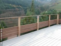 Railing wood-stainless steel – FC Wood Deck - All About Balcony Veranda Railing, Deck Railings, Railing Ideas, House Yard, House Front, Bougainvillea, Cadiz, Front Porch Garden, Outdoor Areas