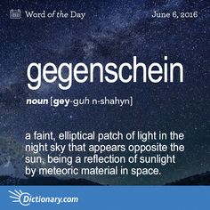 Gegenschein definition, a faint, elliptical patch of light in the night sky that appears opposite the sun, being a reflection of sunlight by meteoric material in space. Unusual Words, Rare Words, Big Words, Unique Words, Cool Words, Pretty Words, Beautiful Words, Different Words For Beautiful, Foreign Words