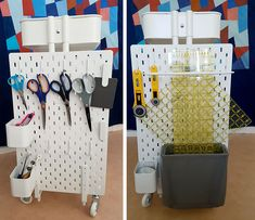 Ikea hack: How to create a mobile pegboard storage unit from the Raskog cart and Skadis pegboard – Ikea 2020 Pegboard Ikea, Pegboard Craft Room, Pegboard Storage, Ikea Storage, Craft Room Storage, Pegboard Display, Kitchen Pegboard, Display Shelves, Large Pegboard