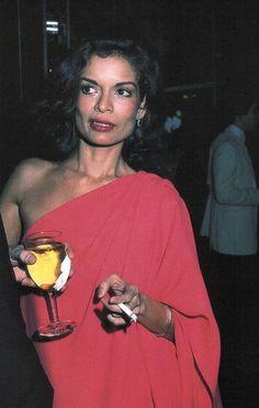 Bianca Jagger parties in Halston, 1970s.
