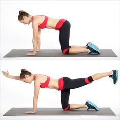 How to get toned abs in 2 weeks? Practice bird dog exercise for abs. Abs workout challenge for fitness lover. Fitness Workouts, Ab Workouts, Fitness Tips, Quick Workouts, Cardio, Fitness Motivation, Stability Exercises, Thigh Exercises, Core Exercises