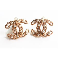 Pre-owned Chanel Earrings ($340) ❤ liked on Polyvore featuring jewelry, earrings, apparel & accessories, chain earrings, preowned jewelry, diamond earrings, body chain jewelry and chanel jewelry