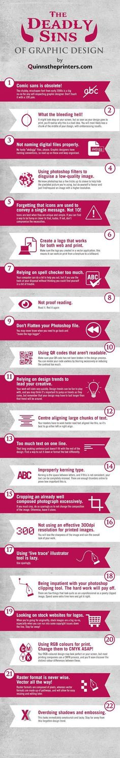 Business infographic : Graphic Design Sins: 22 Mistakes That Novice Designers Make