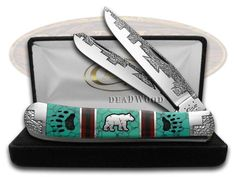 CASE XX DAVID YELLOWHORSE Grizzly Tracks Trapper 1/2 Exotic Custom Pocket Knife - DYH177 | CA