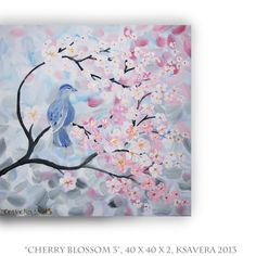 """Acrylic Painting """"Cherry Blossom"""" Tree of life Enchanted Forest KSAVERA Abstract Floral Modern Art Pastel love birds palette knife. €47.00, via Etsy. ----BTW, Please Visit: http://artcaffeine.imobileappsys.com"""
