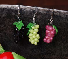 Wine Grape Earrings  polymer clay and sterling by carolyntillie, $30.00