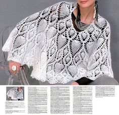 Crochet cape PATTERN crochet capelet PATTERN, detailed instructions in English for every row.
