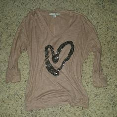 3/4 sheer sweatshirt It's a looser fit and it has a tiny little hole but I think it gives it character! :D no missing sequins that I can see. Make an offer! Forever 21 Tops
