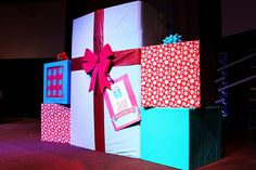 JingleJam02 | These giant presents made up our stage design.… | Talasi {FBC KIDS} | Flickr