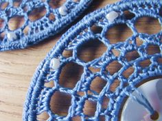 Crochet earrings lace earrings hoop earrings by FarbotyKnoty Lace Earrings, Button Earrings, Crochet Earrings, Hoop Earrings, Plastic Beads, Lace Making, Earring Backs, Crochet Lace, Pouch