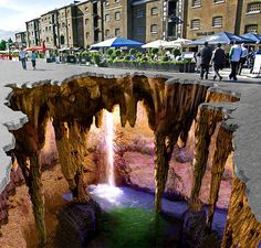 3d chalk drawing on a sidewalk.