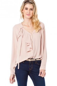 Imelda Ruffle Blouse in Blush