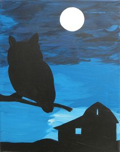 """Great Horned Owl Old Barn Silhouette Shadow Moonlit Sky Acrylic Canvas Painting 8x10. Goodnight Owl, Goodnight Barn. This owl and old barn are silhouetted by a wash of soft moonlight on the farm. The sky is painted with beautiful sapphire blue tones running through the ribbons of clouds. The moon has a pearl white finish which gives it a beautiful """"glow"""". This is an acrylic painting on an 8x10 canvas. Colors may vary slightly due to differences in computer screen settings. If you like…"""
