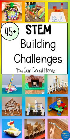 If you are looking for simple, but exciting STEM challenges that kids can do at home or school, this collection of over 45 STEM challenges will give you lots of ideas! Most of the STEM activities require simple materials that you probably already have at home! Happy building. #buildingchallengesforkids #buildingchallengesforkidsengineeringprojects #buildingchallengesforkidsathome #stembuildingchallengesforkids