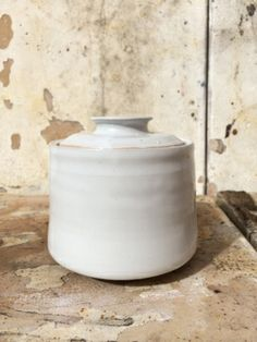 white stoneware jar