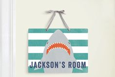 Shark Week Picks: Shark wall hanging sign by Minted