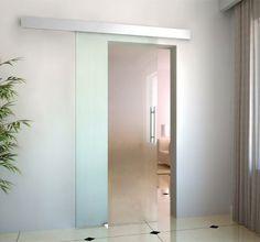 Glasschiebetür Schiebetür 2050x900x8 mm Tür Glastür Zimmertür mit Griffstange office door