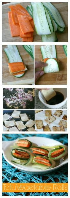 These beautiful and easy Tofu Vegetable Rolls are simple to make and pack a big crunch! This recipe is great to get kids involved with. SO healthy so yummy! Healthy Eating Recipes, Raw Food Recipes, Vegetable Recipes, Diet Recipes, Vegetarian Recipes, Snack Recipes, Cooking Recipes, Snacks, Family Fresh Meals