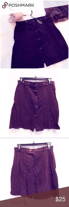 """✨Italian flair✨ ✨Beautiful chocolate brown miniskirt purchased in Italy. Button closure & button details along the waist area where the belt goes. Belt hooks, and extra 2 buttons on the back. At some point I believe it was expander attached on those buttons. Made in Italy🇮🇹 . Says says 44 , it's about a 6-8. Waist is about 14"""" , length is about 17.5"""". 25% polyester, 75% viscose. Gently worn, excellent condition!✨💌✨ Skirts Mini"""