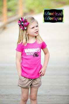 Mommys Mini Me - Hot Pink Applique Shirt or Onesie and Hair Bow Set for Girls $28