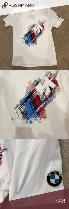 BMW MOTORSPORT MEN'S T-shirt Size medium NWT puma BMW MOTORSPORT MEN'S TEE shirt. Size medium. NWT. Puma brand Bold, graphic tee sports the BMW M stripes and logo. 100% cotton. European fit. Imported.  Hanger included! Puma Shirts Tees - Short Sleeve