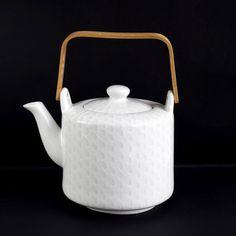 Théière en porcelaine blanche avec anse en bois et motif 1L Lumi Asa Selection