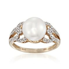9mm Cultured Pearl and .16 ct. t.w. Diamond Ring in 14kt Yellow Gold