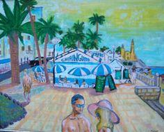 Chiringuito de Sitges, cuadro de Pacco, óleo sobre tabla