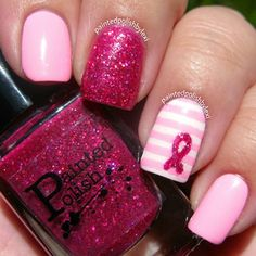 Pastel Pink Stripe Nails With Pink Glitter Nail Polish For Breast Cancer Awareness