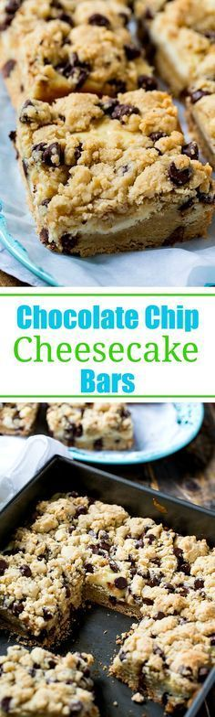 Trisha Yearwood's Chocolate Chip cookie Bars with 2 layers of cookie dough and a cheesecake filling.