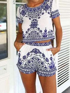 Blue & White Porcelain Prints Short Sleeve Top with Shorts