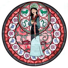 Mulan - Kingdom Hearts Stain Glass by on DeviantArt Disney Princesses And Princes, Disney Princess Art, Disney Nerd, Disney Girls, Princesa Disney Jasmine, Princesa Mulan, Mulan 3, Disney Kunst, Arte Disney