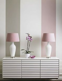 Stripes! pink and gray on wall, pink shade, modern buffet cabinet