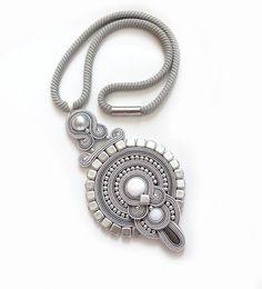 Indian grey necklace soutache OOAK statement necklace by sutaszula