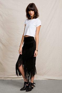 Vintage Suede Fringe Skirt #urbanoutfitters