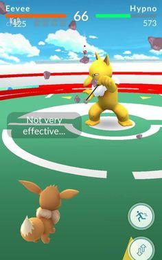 Pokemon Go gym battle between Eevee and Hypno
