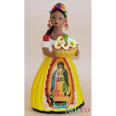 "NAJACO Ceramic Figurine ""Lupita"" Doll, Alcatraces y Vestido Con Imagen Virgen de Guadalupe"