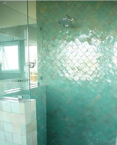 iridescent fish scale tile ~ Mermaid Tile ~ gorgeous bathroom shower tile ~ would LOVE to find the source for this! ~ home & appealing ideas