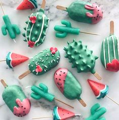 Watermelon and Cactus ~ Kawaii Cake Pops and Candles by Raymond Tan. - Watermelon and Cactus ~ Kawaii Cake Pops and Candles by Raymond Tan. Mini Desserts, Delicious Desserts, Yummy Food, Healthy Food, Healthy Recipes, Magnum Paleta, Kreative Desserts, Cute Baking, Aesthetic Food