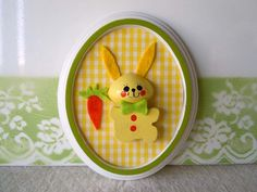 Bunny Rabbit Wall Hanging Picture Oval Vintage by RecycledWares, $12.99