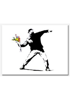 Anarchist Throwing Flowers Banksy printed on to a canvas which would be a great edition to any home.    Size : (W40cm X H30cm) X 1